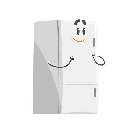 Ilustración de Cute smiling cartoon fridge character, humanized funny home appliance vector Illustration - Imagen libre de derechos