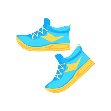 Ilustración de Pair of light blue athletic shoes cartoon vector Illustration - Imagen libre de derechos