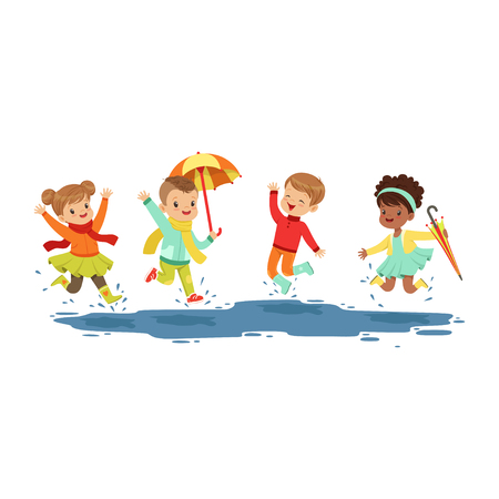 Ilustración de Cute smiling little kids jumping and splashing through the puddles, boys and girls playing in the rain cartoon vector Illustration on a white background - Imagen libre de derechos
