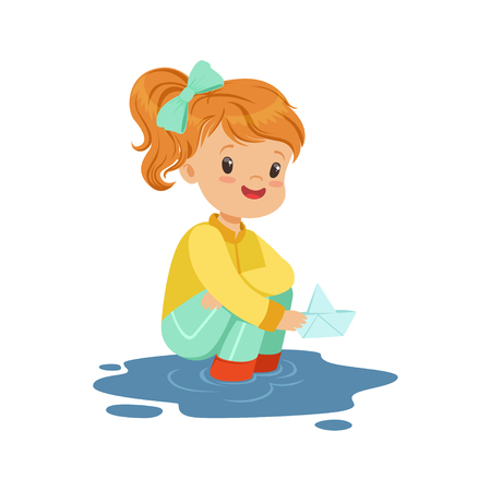Illustration pour Sweet little girl playing with paper boat in a water puddle cartoon vector Illustration on a white background - image libre de droit
