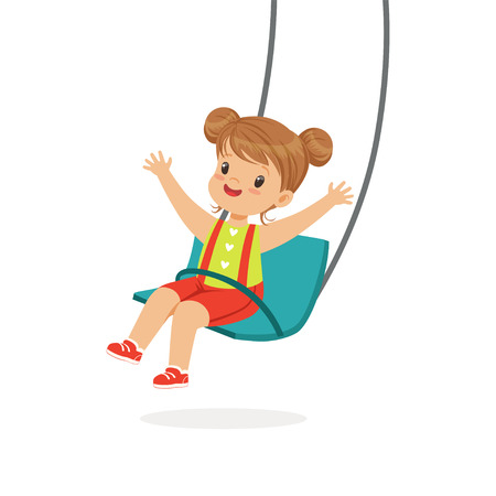 Illustration for Cute little girl swinging on a swing, kid have a fun on a playground cartoon vector Illustration - Royalty Free Image