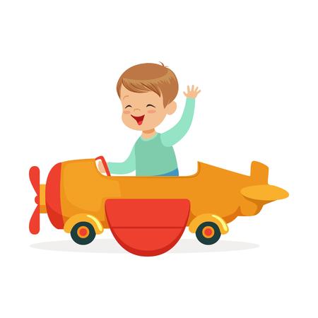 Illustration pour Cute little boy riding on toy airplane, kid have a fun in amusement park cartoon vector Illustration - image libre de droit