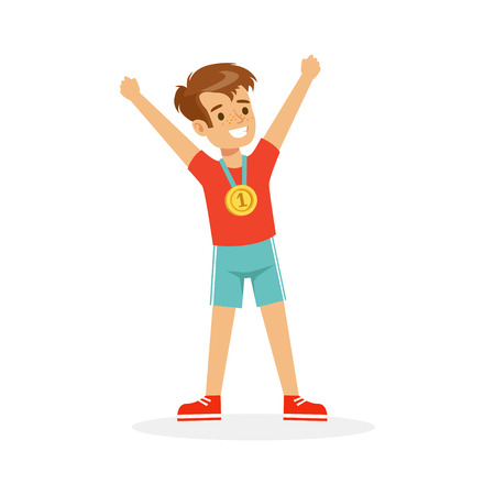 Illustration for Young happy boy with a first place medal, athletes kid celebrating his golden medal cartoon vector Illustration - Royalty Free Image