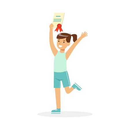 Illustration pour Happy girl in blue sports uniform holding her excellent report card cartoon vector Illustration - image libre de droit