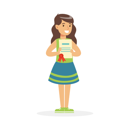 Illustration for Happy girl holding her excellent report card cartoon vector Illustration - Royalty Free Image