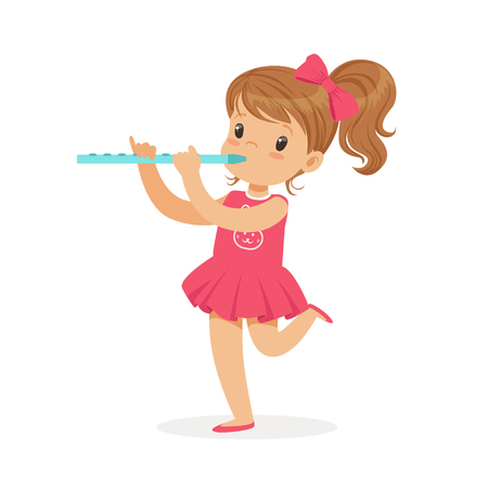 Illustrazione per Sweet little girl playing flute, young musician with toy musical instrument, musical education for kids cartoon vector Illustration - Immagini Royalty Free