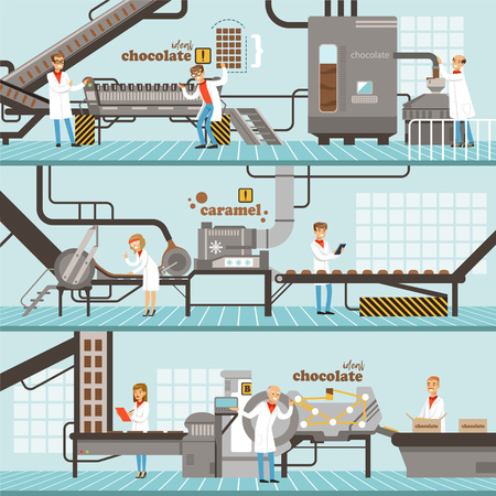 Illustration pour Process of caramel and chocolate production set of horizontal colorful banners? chocolate factory colorful detailed vector Illustrations - image libre de droit