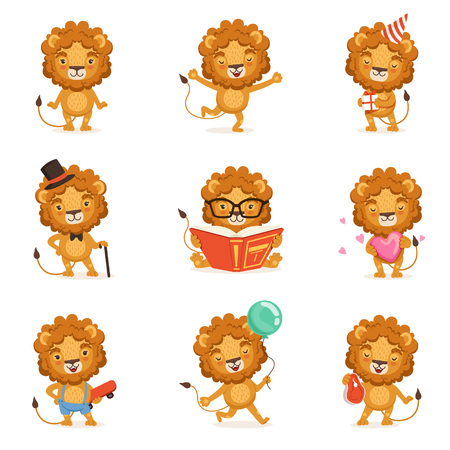 Illustration pour Cute lion character character doing different activities colorful vector Illustrations - image libre de droit