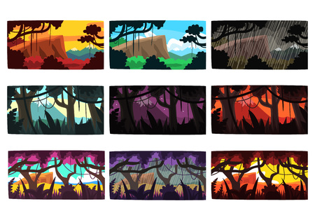Illustration for Tropical jungle landscapes set in different different colors and times of day colorful horizontal vector Illustrations - Royalty Free Image