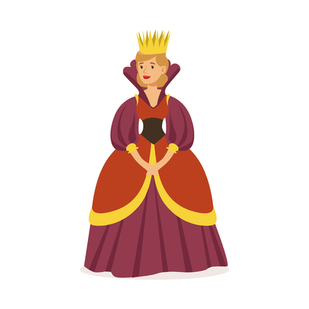 Ilustración de Majestic queen in purple dress and gold crown, fairytale or European medieval character colorful vector Illustration on a white background - Imagen libre de derechos