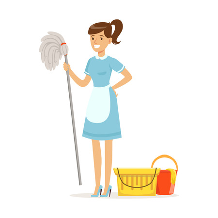Ilustración de Smiling housekeeping maid character wearing uniform with bucket and mop, cleaning service of hotel vector Illustration on a white background - Imagen libre de derechos