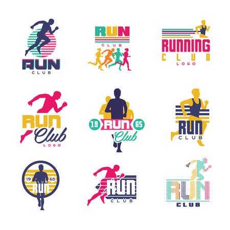 Ilustración de Running club logo templates set, emblems for sport organizations, tournaments and marathons colorful vector Illustrations on a white background - Imagen libre de derechos