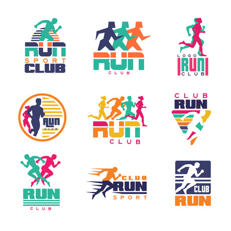 Ilustración de Run sport club logo templates set, emblems for sport organizations, tournaments and marathons colorful vector Illustrations on a white background - Imagen libre de derechos