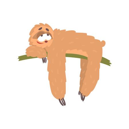 Foto de Cute happy cartoon lazy sloth character lying on the tree, funny tropical animal vector Illustration - Imagen libre de derechos