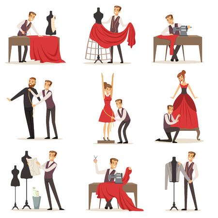 Illustration pour Dressmaker set, male designer tailoring measuring and sewing for his customers vector Illustrations - image libre de droit