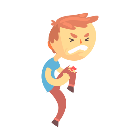 Illustration pour Boy character with wound on his knee cartoon vector illustration - image libre de droit