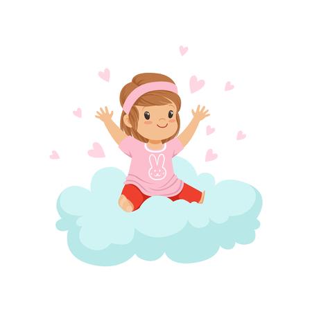 Ilustración de Sweet little girl sitting on cloud surrounded by pink hearts, kids imagination and dreams vector illustration - Imagen libre de derechos