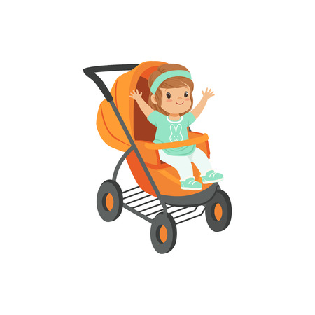 Ilustración de Adorable little girl sitting in an orange baby carriage, safety handle transportation of small kids vector illustration - Imagen libre de derechos
