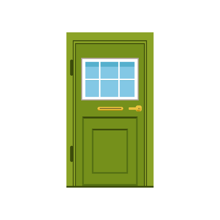 Illustration for Green front door to house, closed elegant door vector illustration - Royalty Free Image