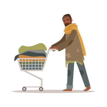 Illustration pour Homeless black man character pushing shopping cart with his possessions, unemployment male beggar needing help vector illustration - image libre de droit