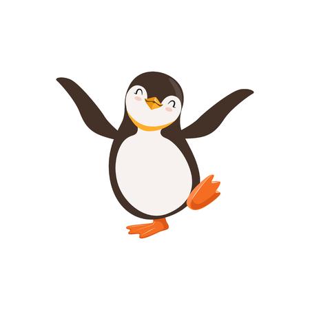 Ilustración de Cute vector Happy Penguin Toon Character Dancing With Its Eyes Closed On A White background - Imagen libre de derechos