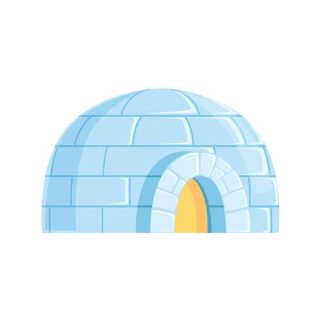 Ilustración de Igloo, icy cold house, winter built from ice blocks vector Illustration - Imagen libre de derechos