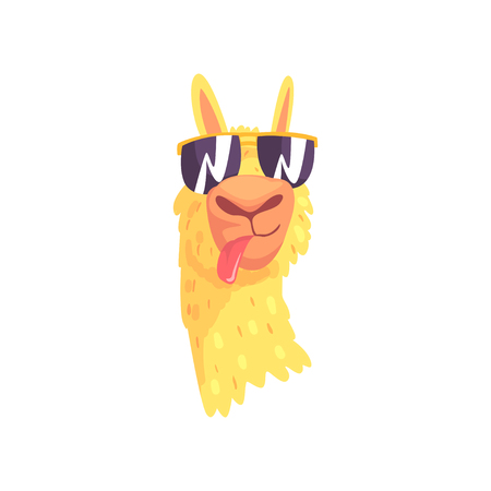 Illustration pour Funny llama character in sunglasses, cute alpaca animal cartoon vector Illustration on a white background - image libre de droit