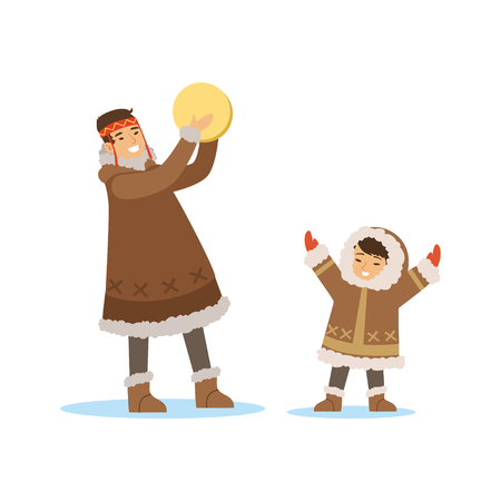 Ilustración de Eskimo, Inuit, Chukchi kids in traditional costume playing tambourine, northern people, life in the far north vector Illustration - Imagen libre de derechos