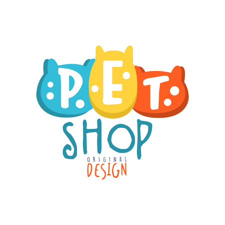 Ilustración de Pet shop logo template original design colorful hand drawn vector Illustration - Imagen libre de derechos