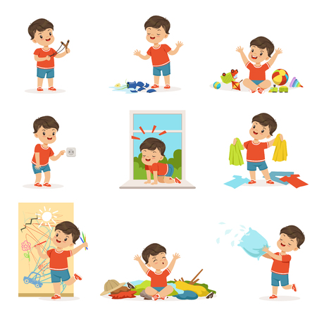 Illustrazione per Funny little boy playing games and making mess - Immagini Royalty Free