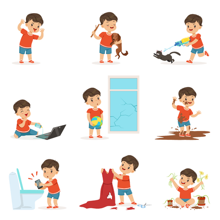 Illustrazione per Funny little kid playing games and making mess - Immagini Royalty Free
