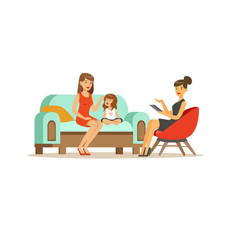 Illustration pour Family psychologist counseling woman and crying girl, psychologist having session with patients vector Illustration - image libre de droit
