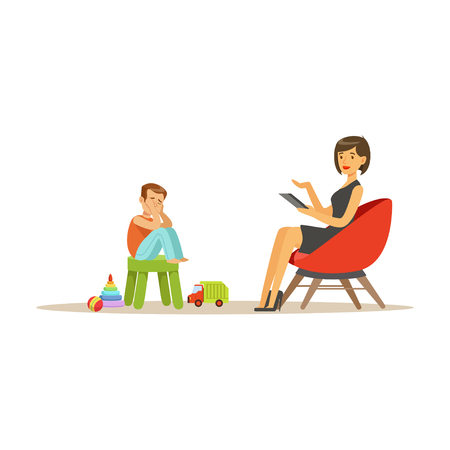 Ilustración de Depressed boy talking to child psychologist about problems, psychotherapy counseling, psychologist having session with patient vector Illustration - Imagen libre de derechos