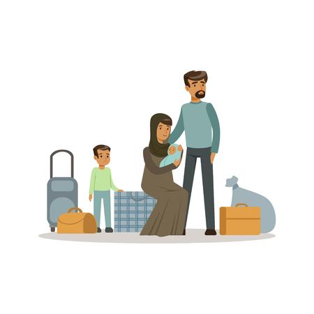 Ilustración de Stateless refugee family with suitcases, war victims concept vector Illustration - Imagen libre de derechos