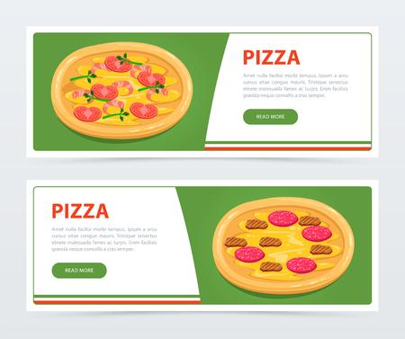 Ilustración de Pizza banner template with different ingredients - Imagen libre de derechos