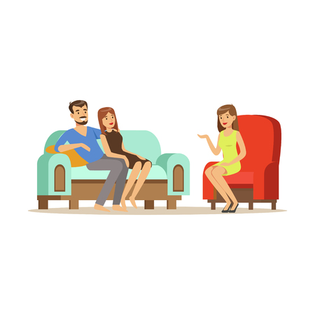Ilustración de Happy family couple characters talking to female psychologist about their problems, psychotherapy counseling, psychologist having session with patient vector Illustration - Imagen libre de derechos