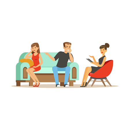 Illustration pour Unhappy family couple characters talking to female psychologist about their problems, psychotherapy counseling, psychologist having session with patient vector Illustration - image libre de droit