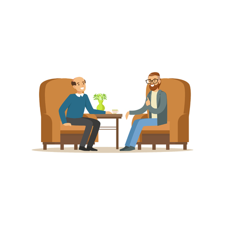 Illustration pour Smiling male patient character talking to male psychologist about problems, man dealing with stress, psychologist having session with patient vector Illustration - image libre de droit