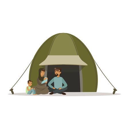 Ilustración de Stateless refugee family living in a camp, social assistance for refugees vector Illustration - Imagen libre de derechos