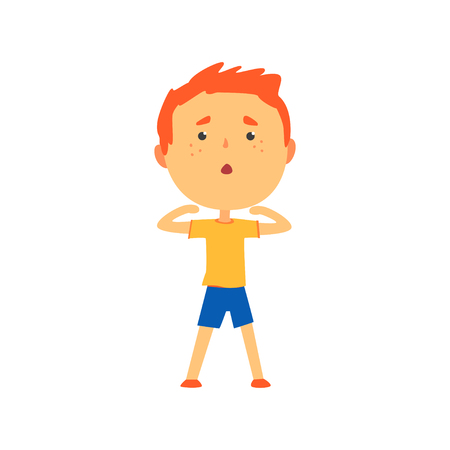 Foto per Redhead boy doing sport exercise, kids physical activity cartoon vector Illustration - Immagine Royalty Free