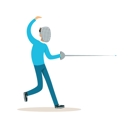 Illustration pour Male fencing athlete character practicing with sword, active sport lifestyle vector Illustration - image libre de droit