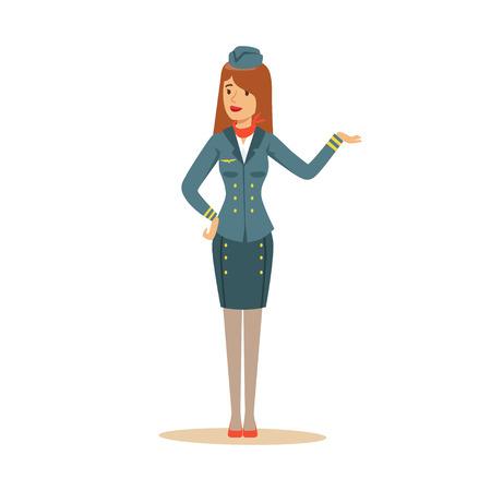 Illustration pour Stewardess in uniform doing a welcome gesture. - image libre de droit