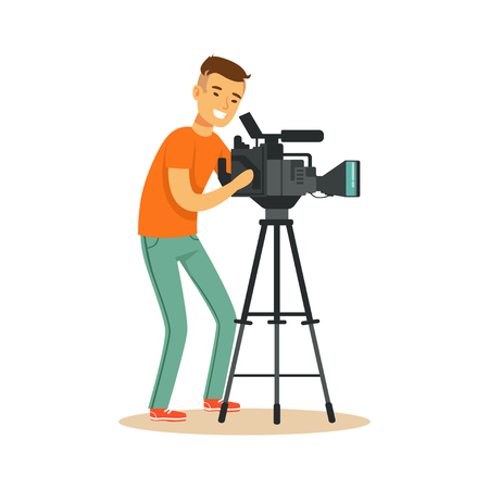Illustration pour Cheerful television video operator looking through professional camcorder on tripod. Cartoon camera man character. TV people at work. Vector illustration in flat style isolated on white background. - image libre de droit