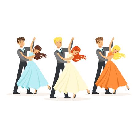Ilustración de Couples of professional ballroom dancers - Imagen libre de derechos