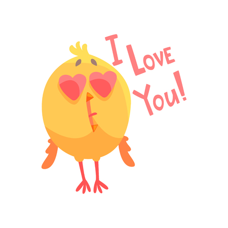 Illustration pour I love you, funny cartoon comic chicken with heart shape eyes vector Illustration - image libre de droit