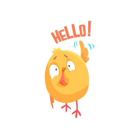 Illustration pour Funny cartoon comic chicken with phrase Hello vector Illustration - image libre de droit