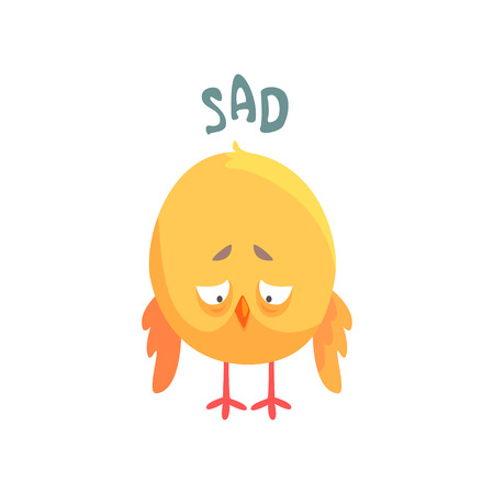 Illustration pour Funny sad cartoon comic chicken vector Illustration - image libre de droit