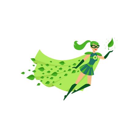 Ilustración de Flying eco superhero female in costume - Imagen libre de derechos