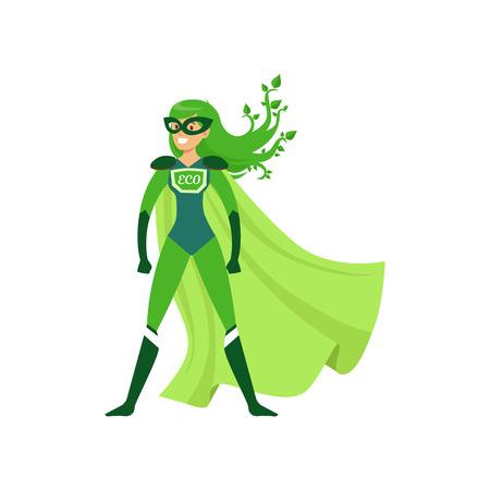 Ilustración de Green-haired girl superhero standing in proud pose - Imagen libre de derechos