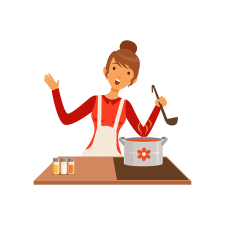 Illustration pour Young woman with ladle cooking soup, housewife girl in the kitchen flat vector Illustration - image libre de droit